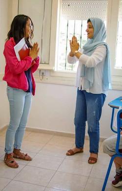 Teacher Loubna in her Drama class.