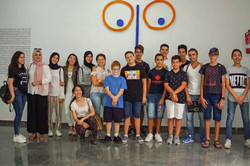 Group picture of Youth program students and teachers in an outing to Tetouan Modern Art Center.