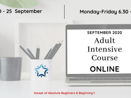 ADULT INTENSIVE COURSE - SEPTEMPER 2020
