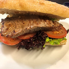 Steak Ciabatta with tomato, salad and garlic butter