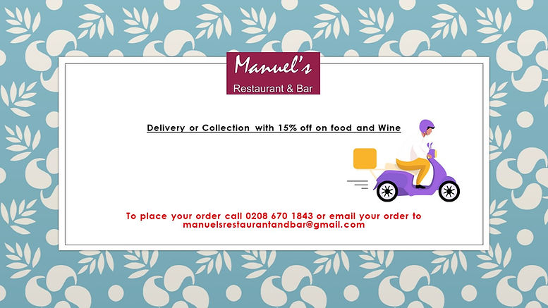 Delivery or Collection with 15% off on.j