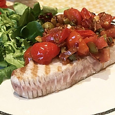 Tuna Steak Charcolgrill with Cherry tomato, garlic and basil £23-£26