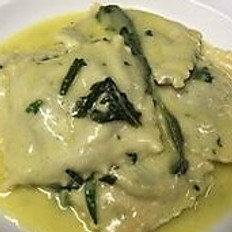 Homemade Ravioli with Spinach and Ricotta cheese with butter and sage.