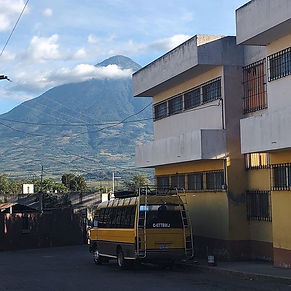 Visible volcano from the park in Santiag