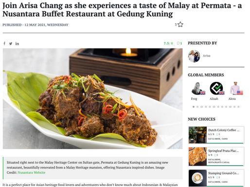 Join Arisa Chang as she experiences a taste of malay at Permata