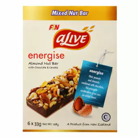 F&N aLive energise almond nuts bars (6x33gm)