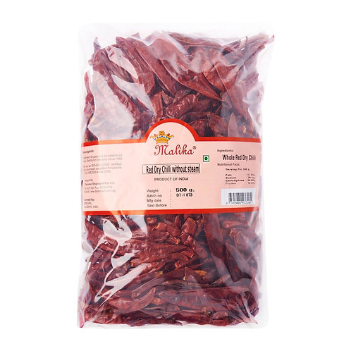 Malika red dry chilli without stems (500gm)