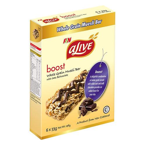 F&N aLive boost whole grain muesli bars - oats & chocolate (6x33gm)