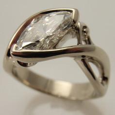 marquise shaped diamond w/ freeform shank