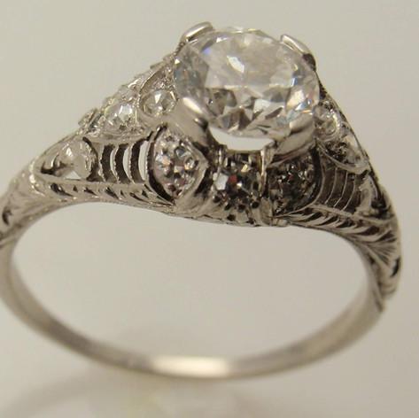 vintage inspiired platinum cut through ring