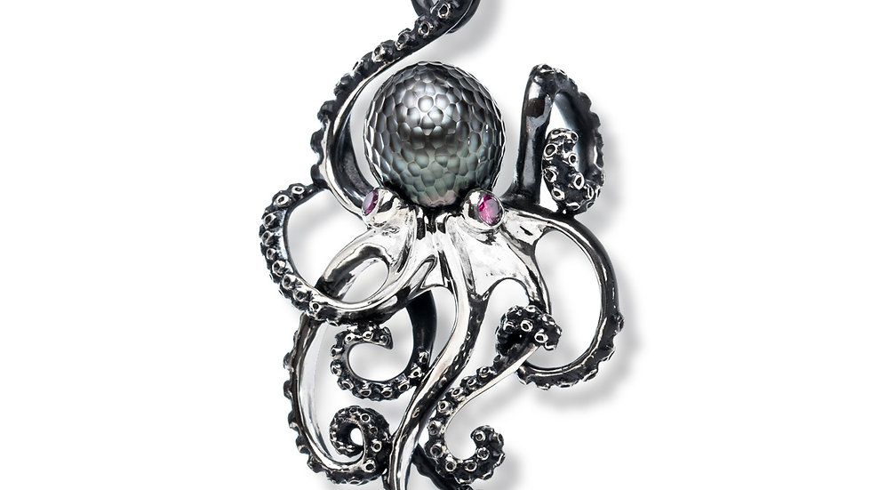 Octopus Pendant In Sterling Silver w/ Cared Tahitian Pearl and RubyEyes