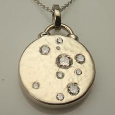 flush set pendants w/ planished background