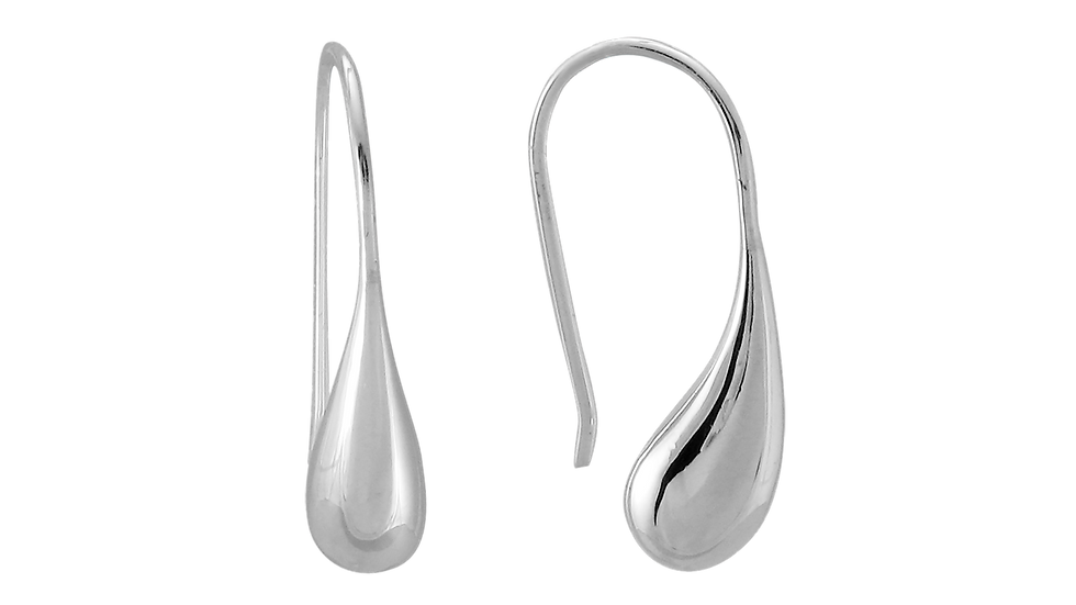 Silver Rhodium Solid Teardrop Earrings