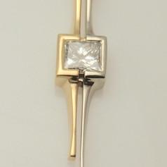 bicolor princess cut diamond pendant