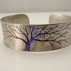engraved titanium tree cuff