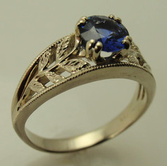 14k organic engraved double prong sapphire engagement ring