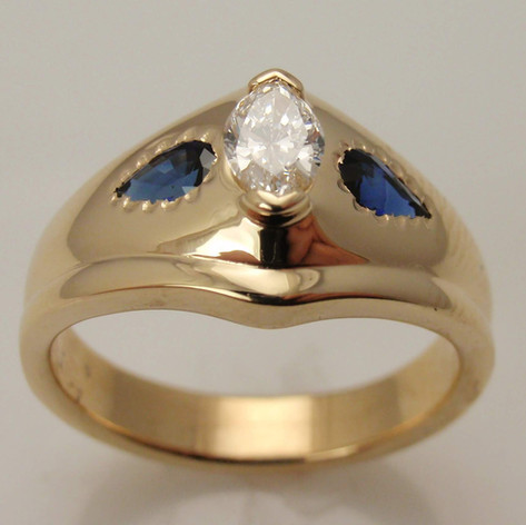 faux wedding set w/ pear shaped sapphire accents