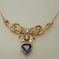 heart shaped sapphire penda