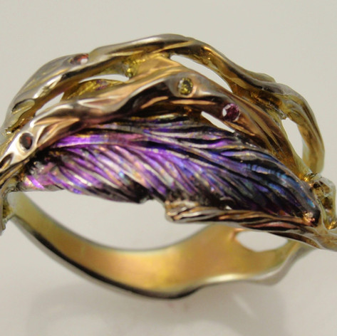 free form bark and feather titanium ring
