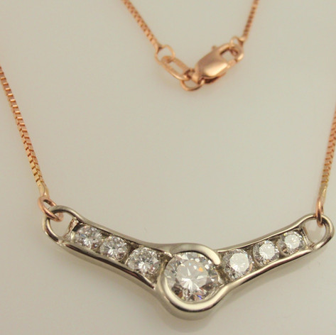 diamond white gold necklace on rose gold chain
