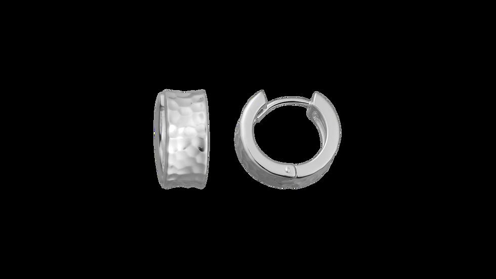 Silver Rhodium Hinged Hoop Earrings with Hammered Texture