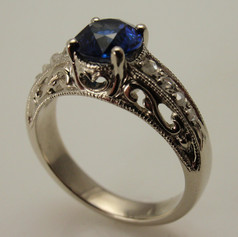 engraved cut through vintage inspired sapphire ring
