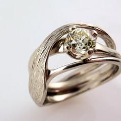Vintage diamond in a freefrom wedding set w/ bark engraved wedding band jacket