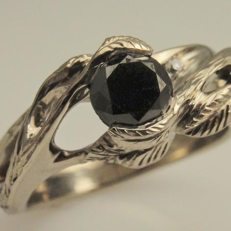 black diamond leaf ring