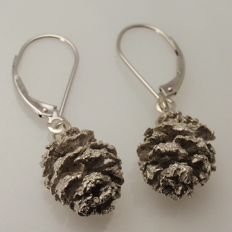 pine cones from Rab's front yard cast in silver
