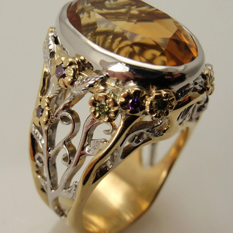 very big citrine ring w/ a lot of cool accents