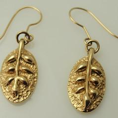 engraved leaf earrings