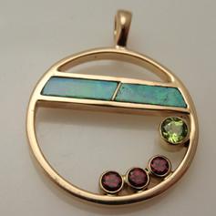 circle pendant w/ opals, garnets and peridot