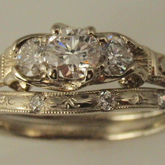 vintage inspired 3 stone wedding set