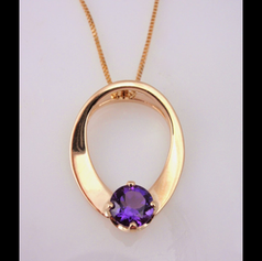 Hand forged amethyst pendant