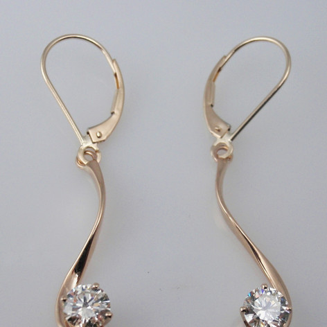 diamond hand forged drop earrings