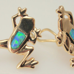 opal frog studs