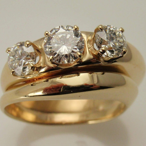 three diamond wedding set