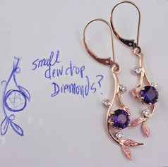 small dew drop amethyst and diamond earrings
