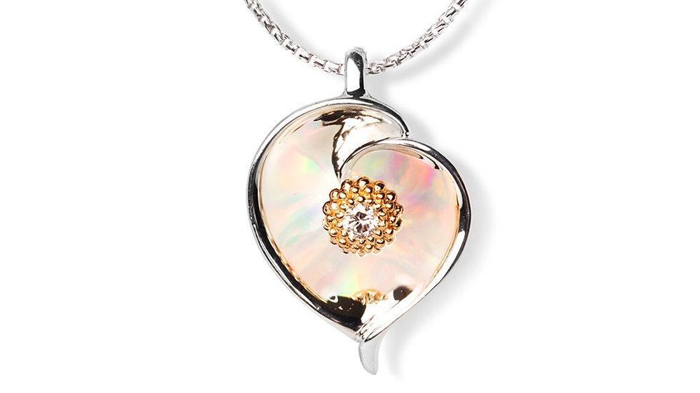 Gloria Plumeria Pendant Silver w/ gold accents and created opal