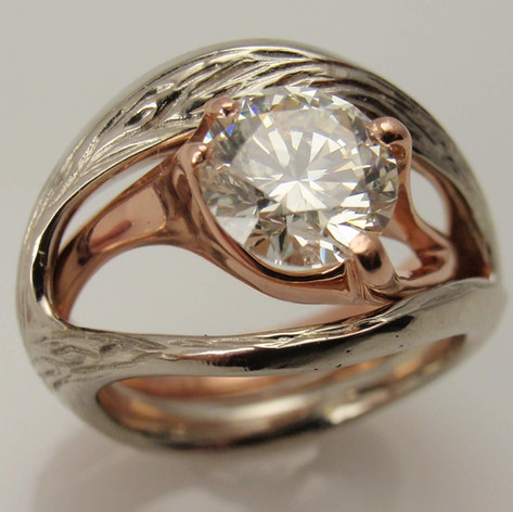 freeform rose gold solitaire w/ white gold bark jacket
