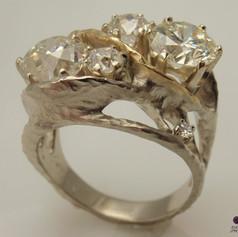 rustic organic 4 stone bicolor diamond ring