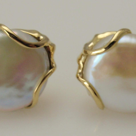 baroque pearls w/ custom wire mountings