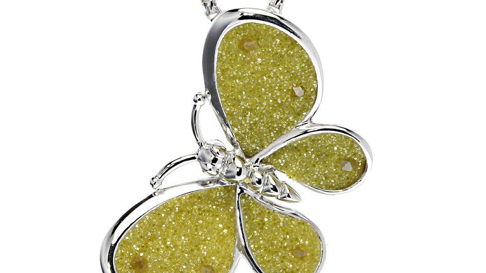 Silver butterfly diamond druzy butterfly pendant