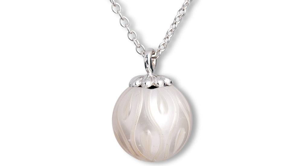 Calla Lilly carved freshwater pearl drop pendant