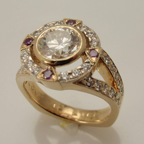 open diamond halo heavey modern ring