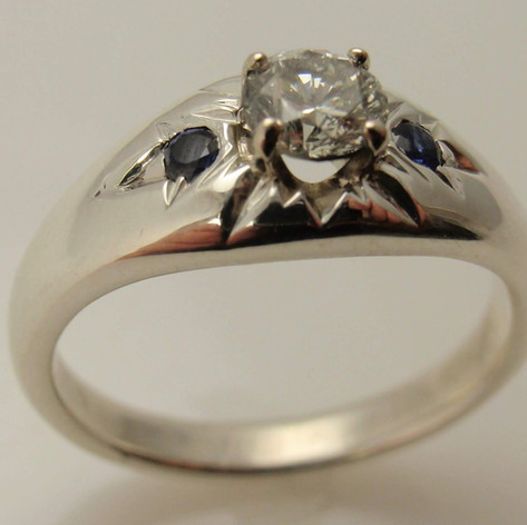 1kw rustic diamond and sapphire ring