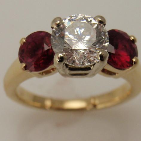 diamond and ruby three stone ring