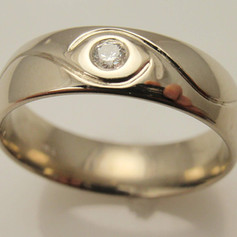 engraved flush set diamond ring