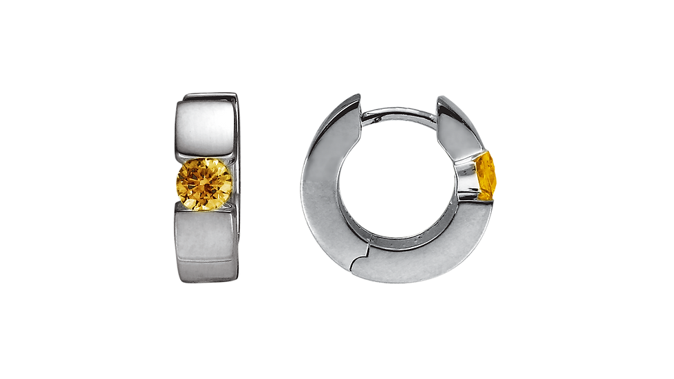 Silver Rhodium Plated Hinged Hoops w/ Citrine