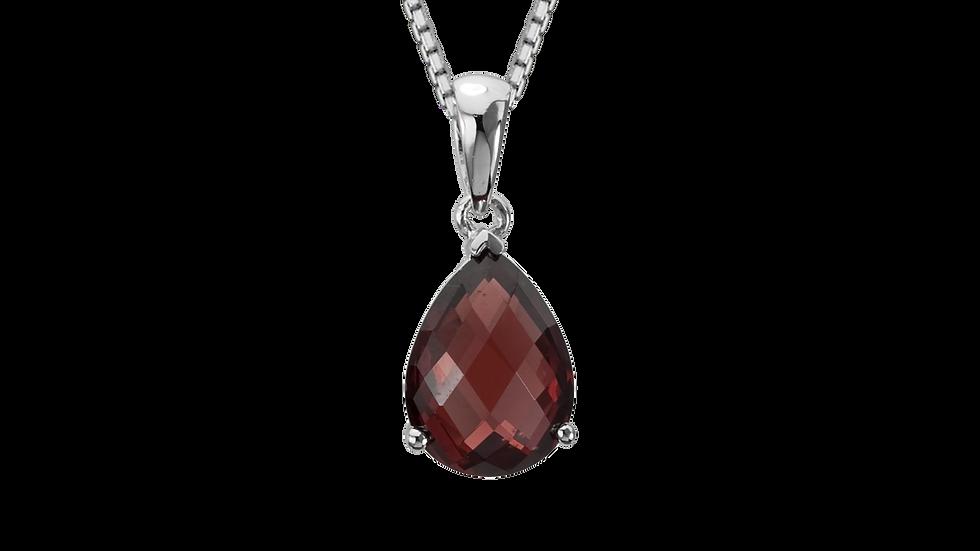 """Silver """"Prisma"""" Garnet Checkerboard Pear Pendant"""